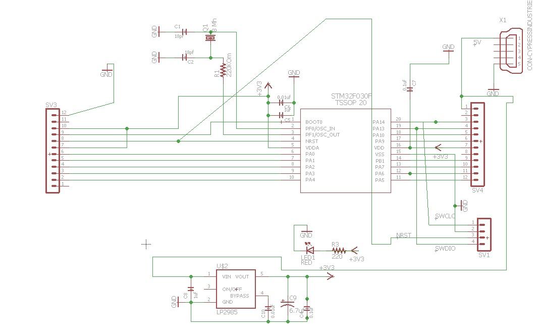 Схема  платы  для STM32F030F4P6